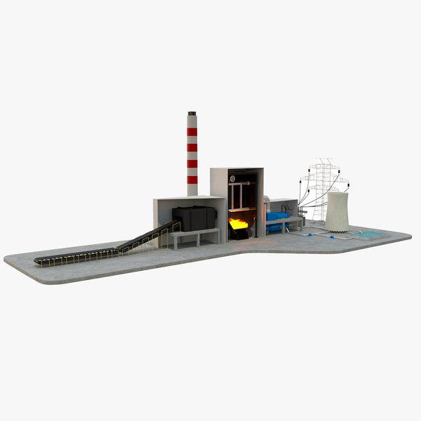 3D model coal power station diagram