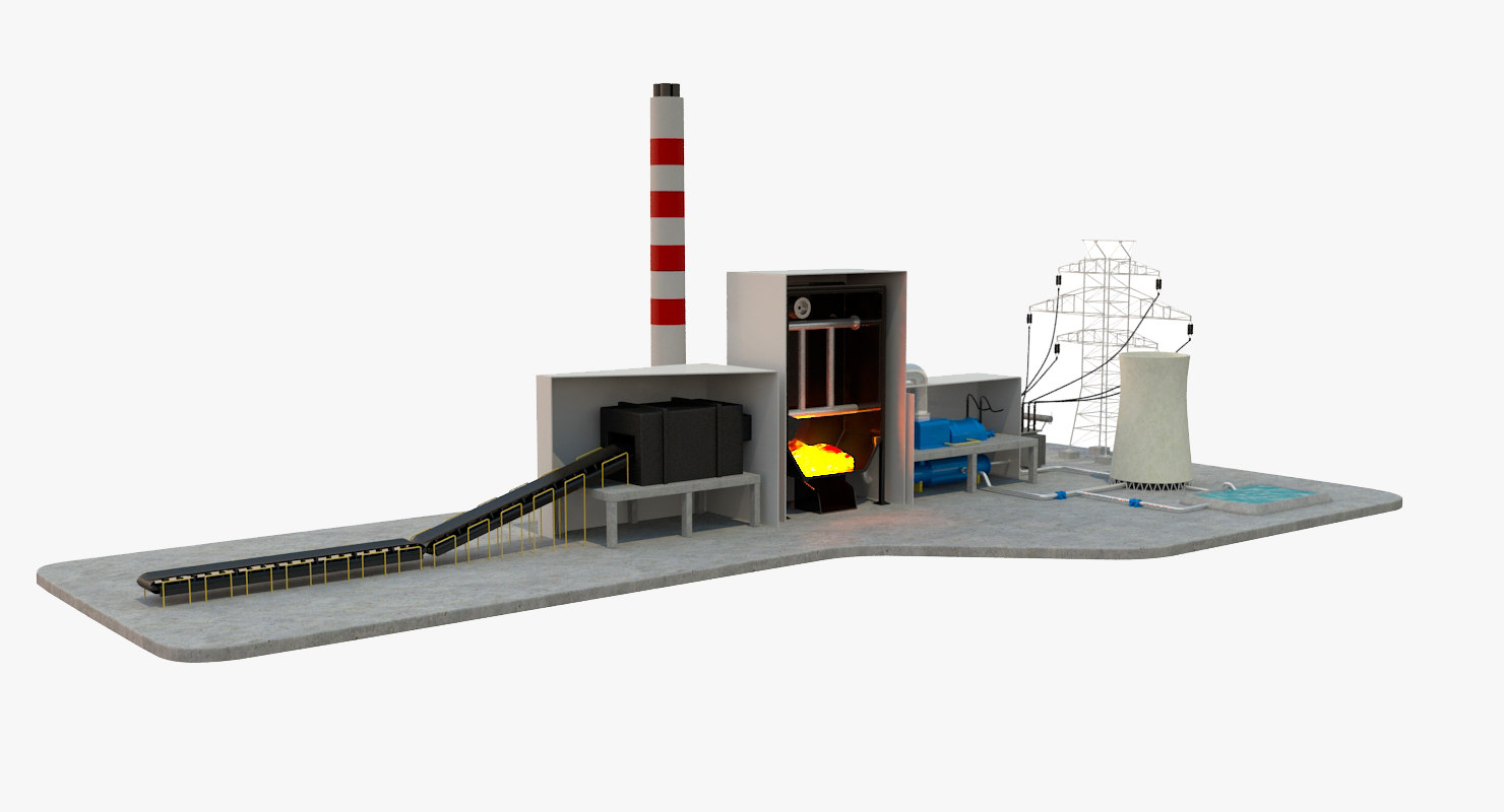 3d model coal power station diagram