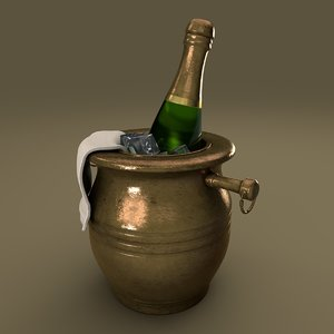 3D champagne bucket bronze model