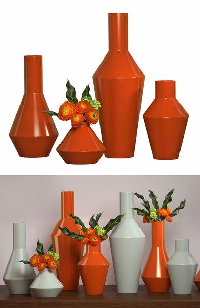 3D shaker vases set