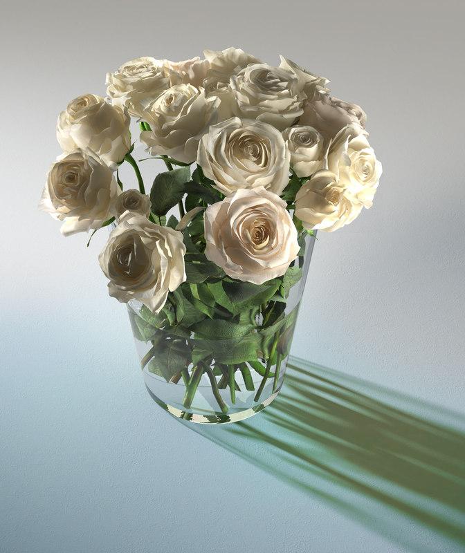 3D glass vase white roses model