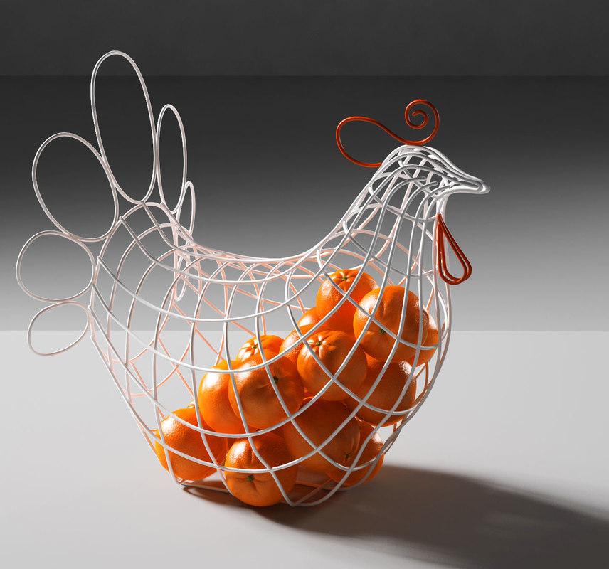 3D fantastico domestico hen basket