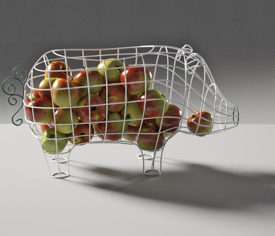 fantastico domestico pig basket 3D model