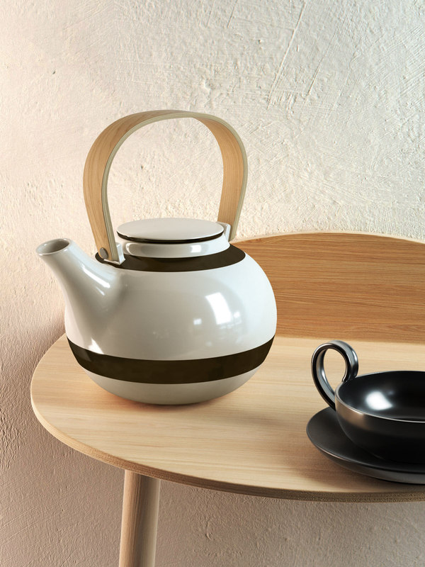 3D striped teapot set model