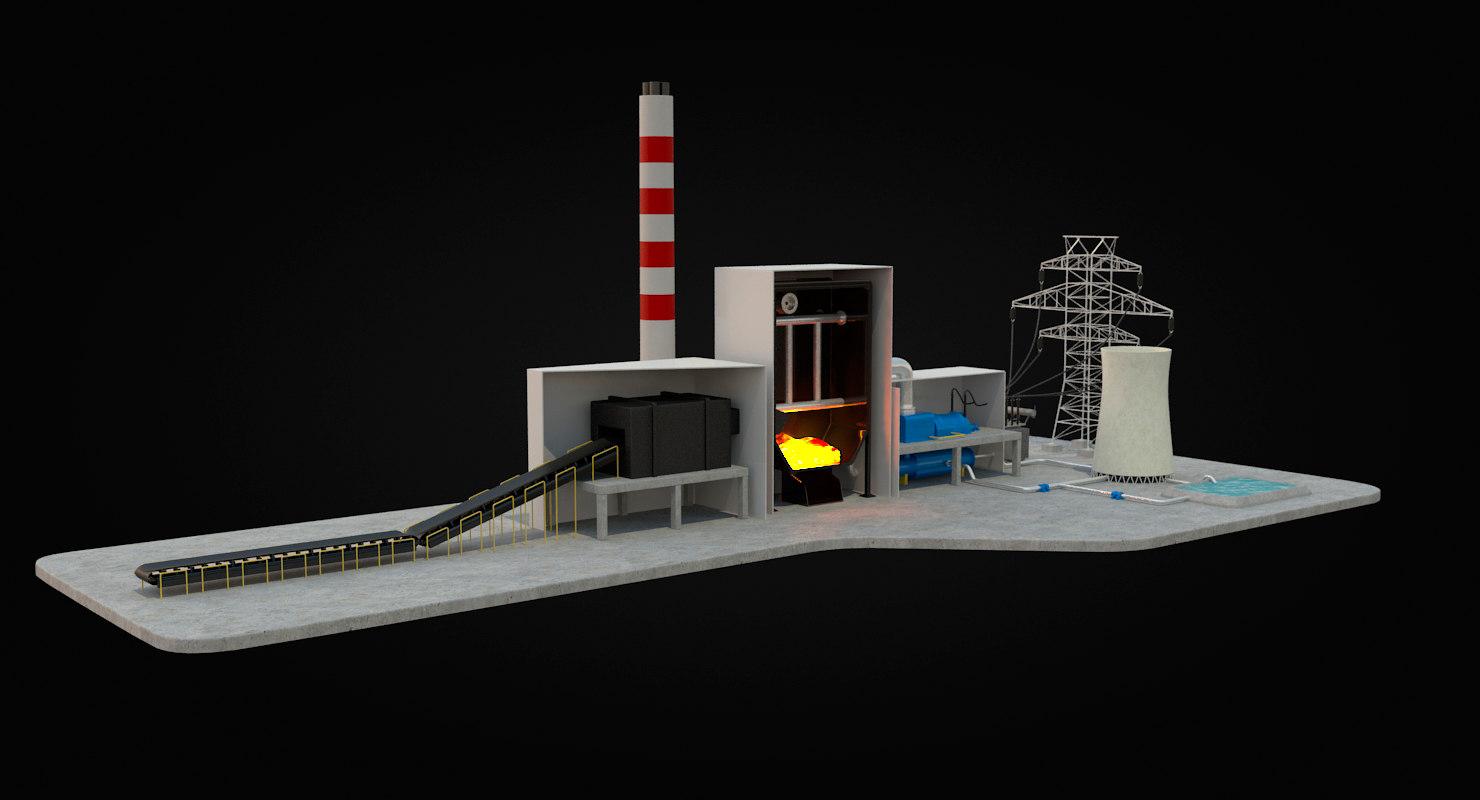 coal power station diagram 3d model