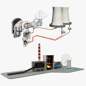 coal power station diagram 3D model