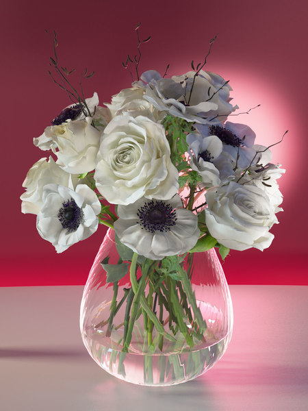 table bouquet white roses 3D model