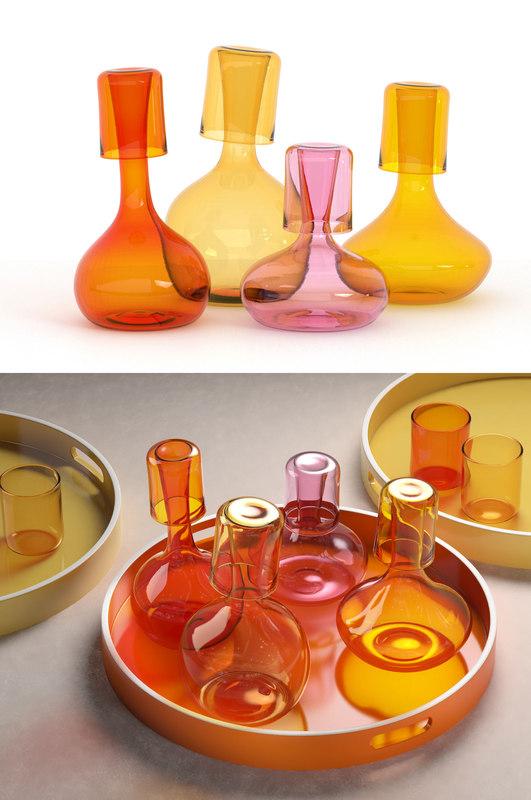 3D glass pitchers tray model