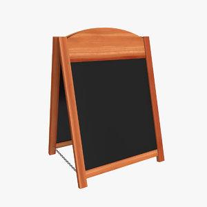wooden sandwich board 3D