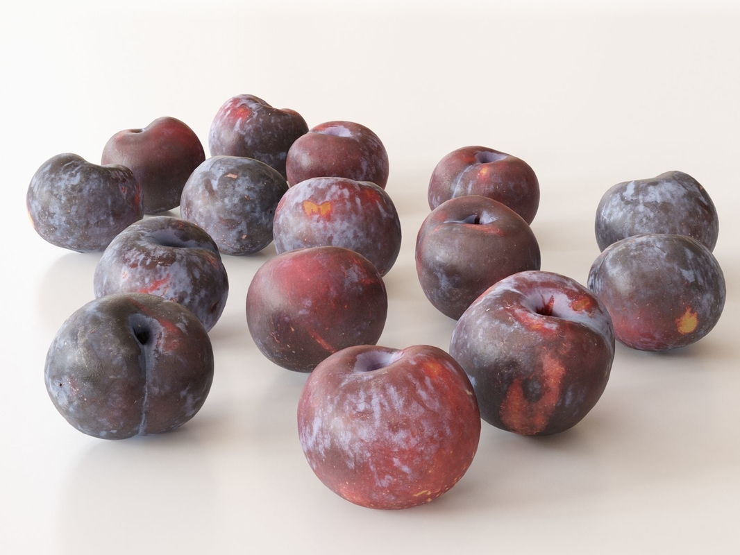 3D red plums
