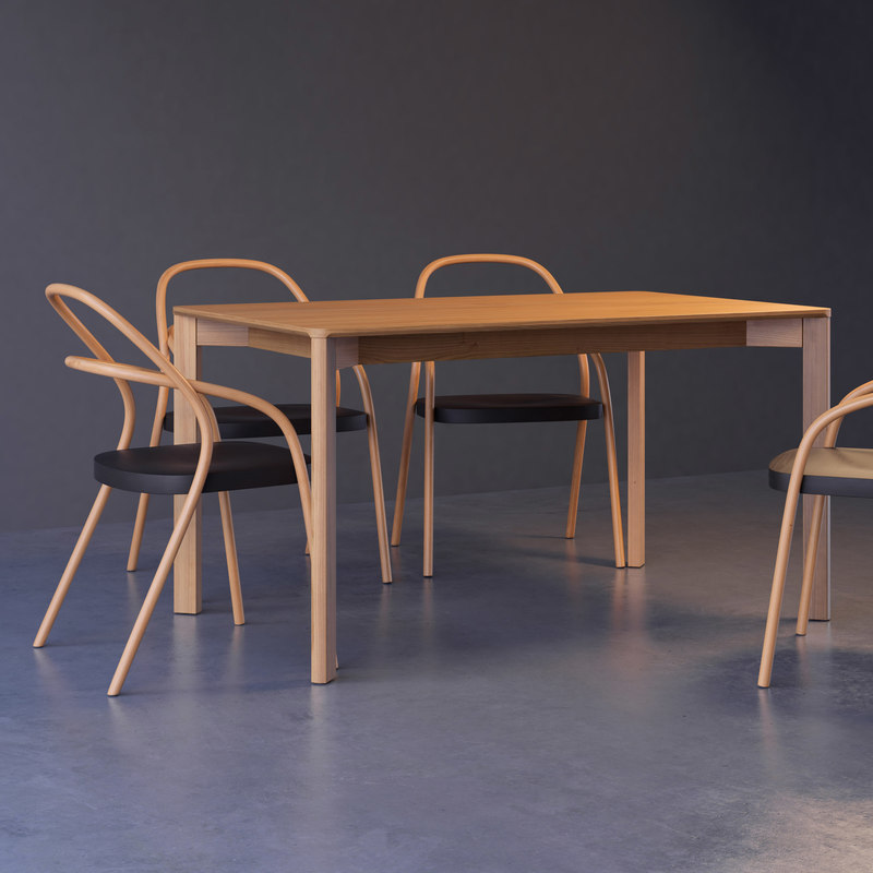 lasa table 002 chair 3D