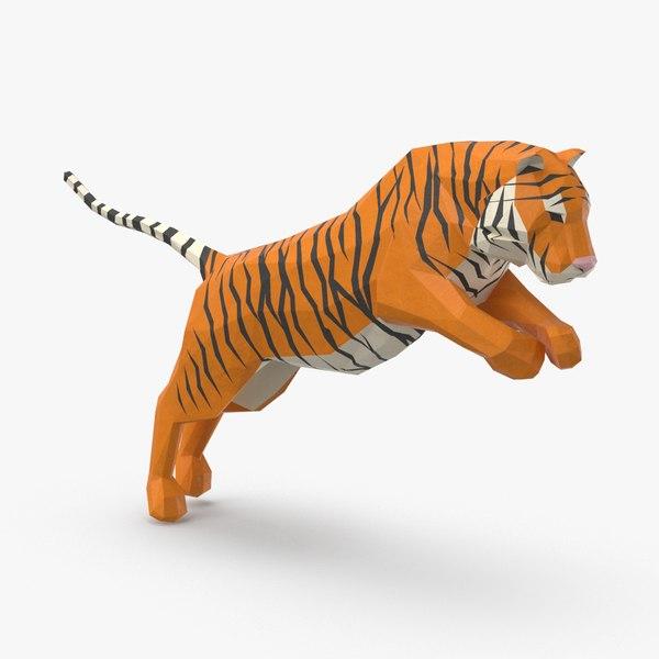 3D model tiger---jumping
