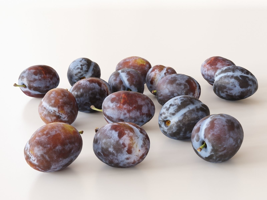 3D purple plums