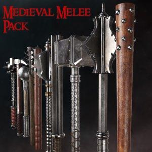 pack medieval weapons blunt 3D model