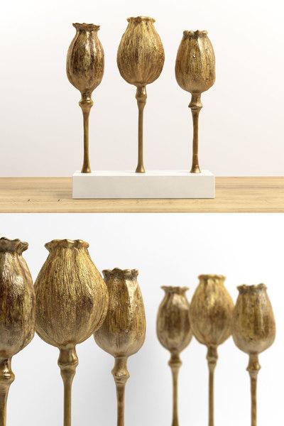 3D poppy pod sculpture trio model