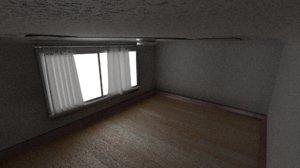 bedroom realistic curtains 3D model