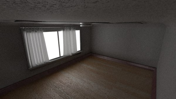 bedroom realistic curtains 3D model