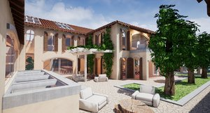 3D model mansion houses villas spanish