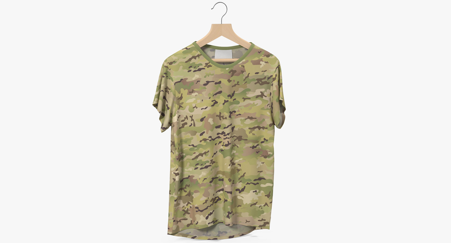 hanging shirt t-shirt khaki 3D