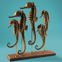3D seahorse sculpture model