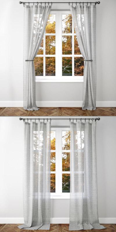3D belgian linen curtains 2 model