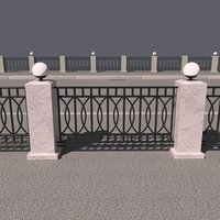 iron fence lights 3D model