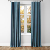 3D blue velvet curtains