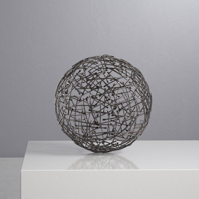 3D crate barrel iron decorative