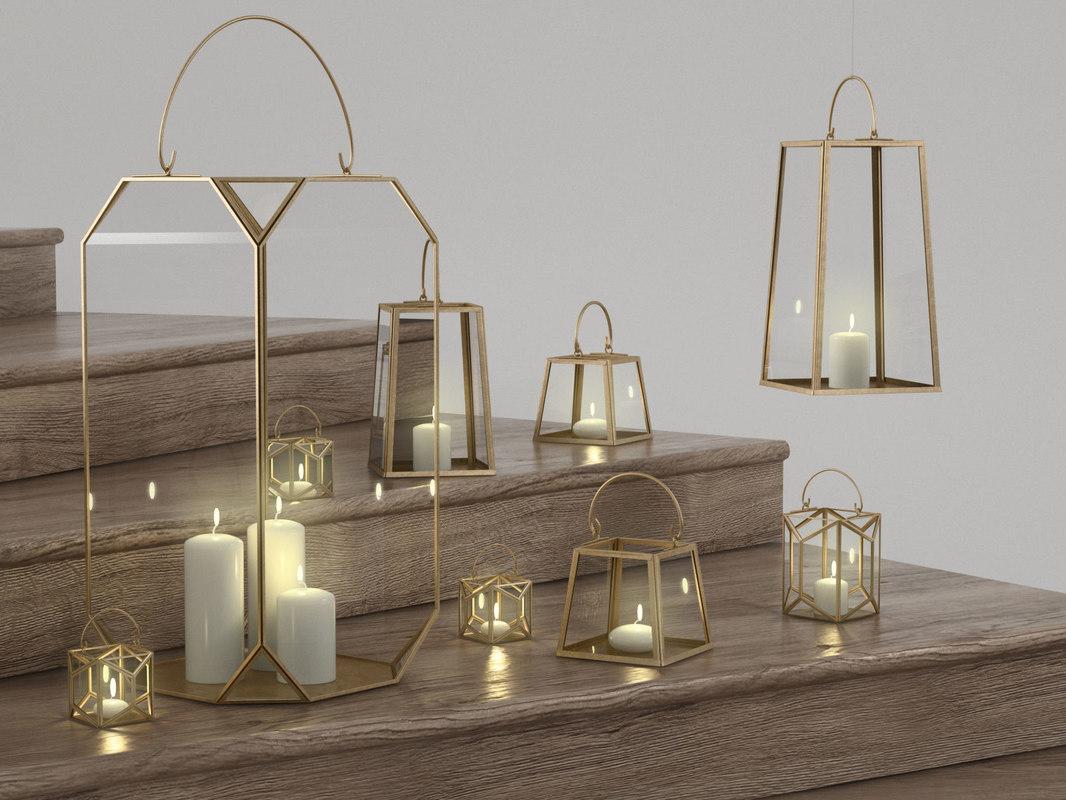 anthropologie geo glow lanterns 3D model