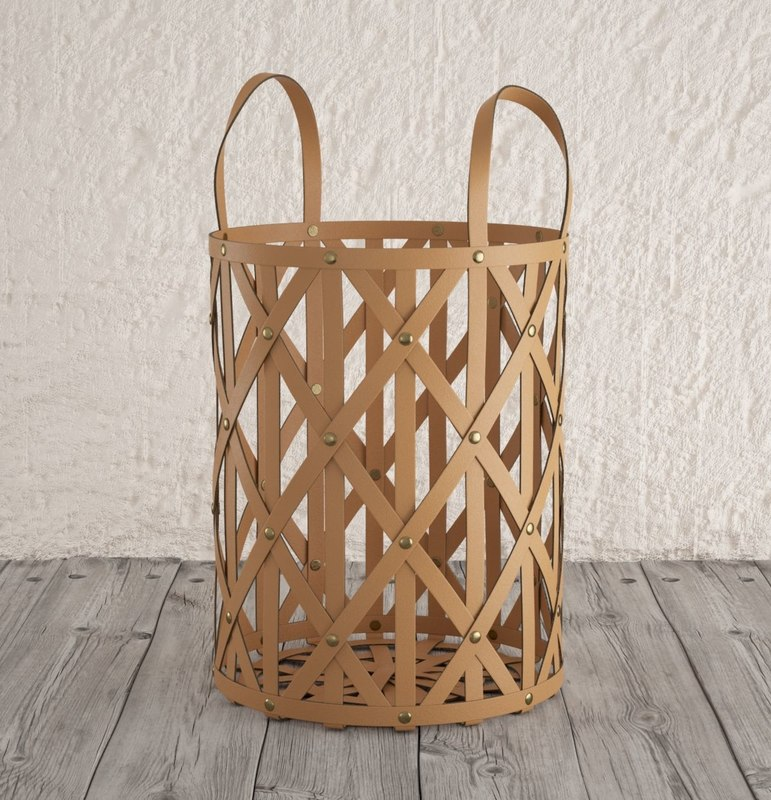 woven leather cylinder baskets 3D