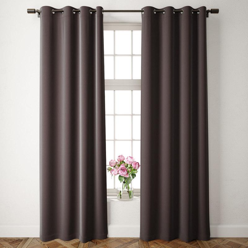 3D velvet grommet curtains