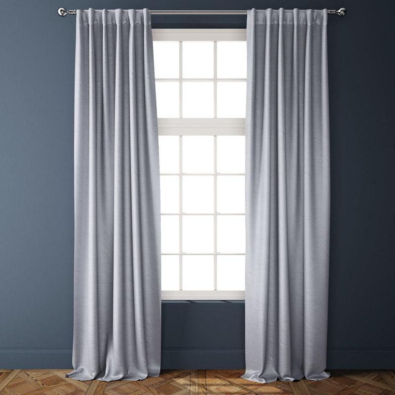cotton luster velvet curtains 3D model