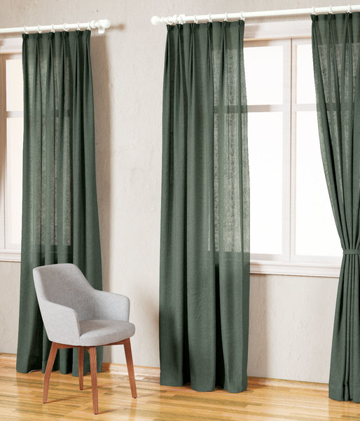 3D country solid green linen model