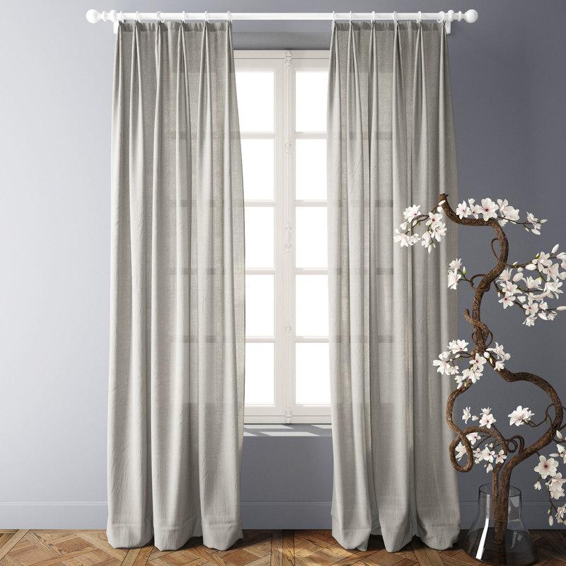 3D modern linen curtains