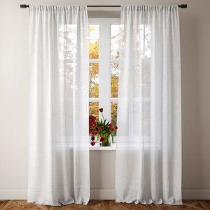 sheer linen curtain 3D