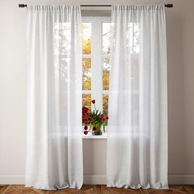 sheer linen curtain 3D