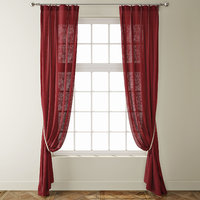 country solid burgundy linen 3D model
