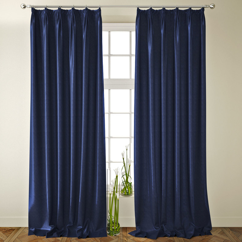 neoclassical blue solid curtains 3D