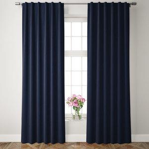 velvet pole pocket curtains 3D model