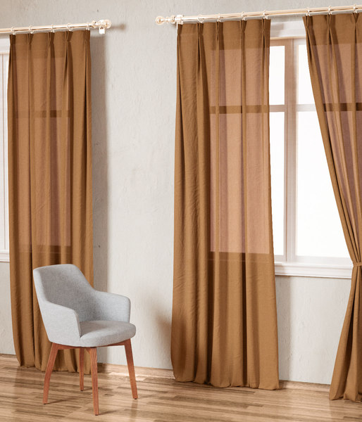 3D country solid kahki linen