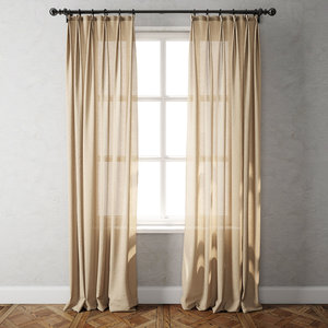 country solid linen curtains 3D