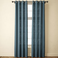3D solid bule linen curtains model