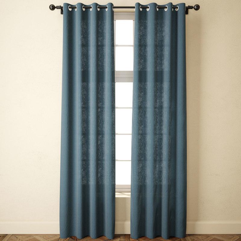 3D solid bule linen curtains model