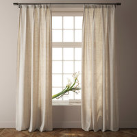 Country Solid Nature Linen Curtains