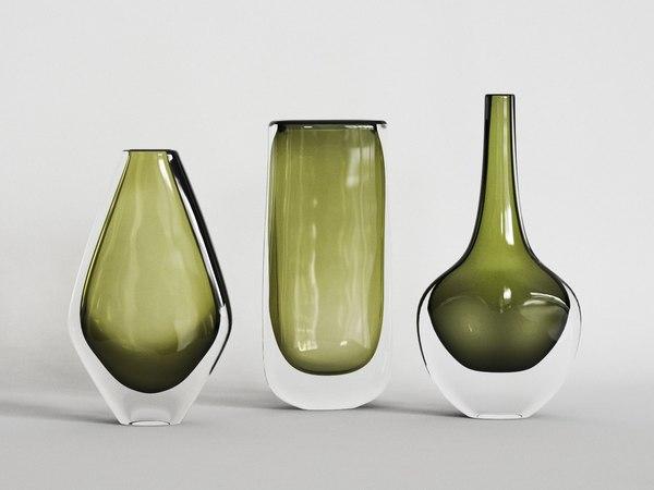 3D model orrefors dusk vases