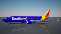 3D southwest 737 - 9 model