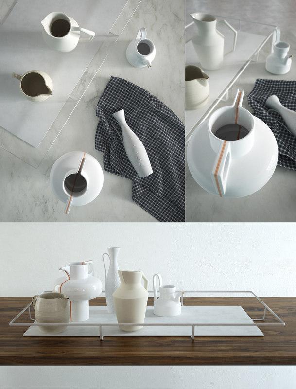 ceramic jug table set 3D model