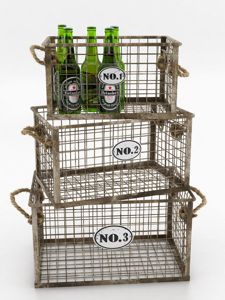heineken beer bottles wire 3D model