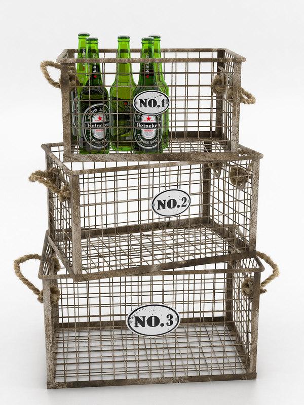 heineken beer bottles wire 3D model