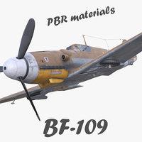 BF-109 German fighter PBR materials 3d model